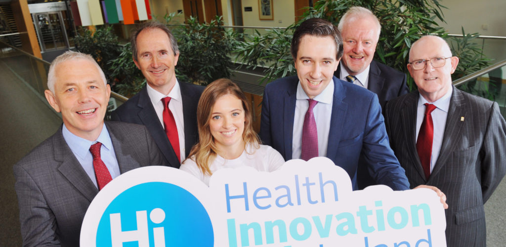 Repro Free Prof. John R. Higgins, Principal Investigator, Health Innovation Hub Ireland; Dave Shanahan, Chair of National Oversight Group, Health Innovation Hub Ireland, Nicola OÕRiordan, UCC, Minister for Health Simon Harris TD, Dr. Colman Casey, Director Health Innovation Hub Ireland and John Murphy, Secretary General, Department of Jobs, Enterprise and Innovation pictured at the official launch of Health Innovation Hub Ireland (HIHI) in UCC, Cork. IrelandÕs first national Health Innovation Hub will directly improve treatment and care for patients. The Minister announced government funding, through the Department of Health and the Department of Jobs, Enterprise and Innovation in conjunction with Enterprise Ireland of Û5 million for the establishment of Health Innovation Hub Ireland, which is led by University College Cork (UCC). Health Innovation Hub Ireland, a partnership of clinicians, academics, innovators and entrepreneurs from across Ireland will accelerate healthcare innovation and commercialisation, by addressing healthcare challenges and in doing so will create jobs and exports for the country Pic Daragh Mc Sweeney/Provision